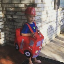 NWT POTTERY BARN KIDS FIRETRUCK  HALLOWEEN COSTUME SMALL 3T & FIREFIGHTER HAT