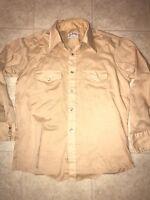 BRONCO ~ Vtg Men's Thin Beige Tan Western Pearl Snap Shirt Long Tail USA ~ L
