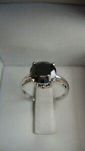 VINTAGE 14K WHITE GOLD 2.01 CT BLACK DIAMOND RING SIZE 5.5