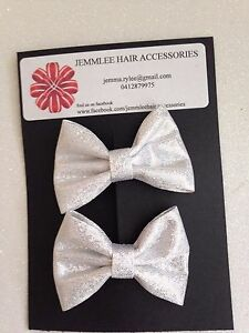 Baby/Girls Glitter Laser Printed Faux Leather Bow Clips x2