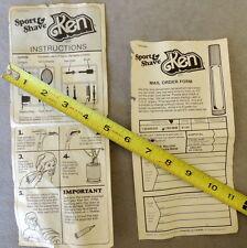 Barbie KEN 1970s VINTAGE Instructions SPORT & SHAVE #1294 '79 Mattel Lot of 2
