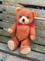 Vintage Bear Teddy Bear Hard Filled 1950s 1960s Rayon Nylon Velvet Paws Orange