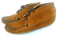 Women Size 7 MINNETONKA Classic Hippy Ankle Suede Moccasins Leather Brown LaceUp