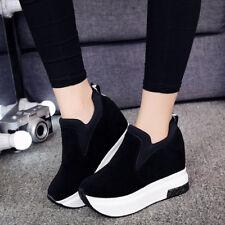 Women's Platform Hidden Wedge High Heels Ankle Sneakers Walking Casual Shoes
