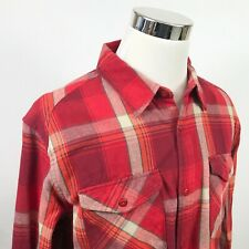 Merrell Mens XL Flannel Shirt Red Orange Plaid UPF 50+ Casual Outdoors Cotton