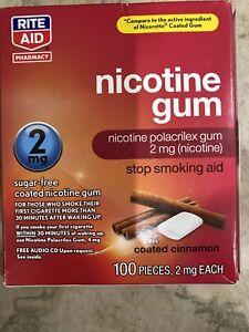 Rite Aid Nicotine Gum 2mg Cinnamon Flavor 100 Pieces Exp 08/2021 New