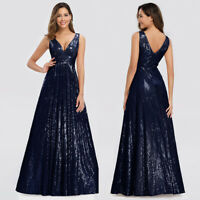 Ever-Pretty Women's Double V-Neck Sleeveless Sequin Evening Prom Dress Ball Gown