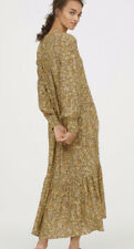 H&M Trend Premium Crepe Maxi Floral Long Tiered Dress XS 4 6 8 Yellow £59.99