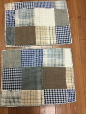PATCHWORK SHAMS SET OF 2 STANDARD BLUE BROWN BLACK STRIPE GINGHAM CHECK