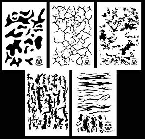 """5Pack! Airbrush Camouflage Stencils Camo Duracoat 14"""" Multicam Digital & More"""