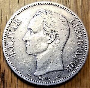 1901 Venezuela 5 Bolivares Very Fine+ Silver Coin - rare - 90,000 minted