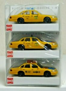 Busch 3 Taxi Set 49030, 49031, 49032 NYC Taxi Crown Victoria HO 1:87 Scale