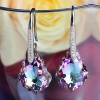 "Aurora Borealis Rhinestone 3.25"" Pageant Bridal Prom Dangle Pierced Earrings"