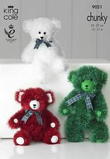 King Cole 9021 Knitting Pattern Teddy Bears in Tinsel Chunky