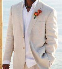 Light Beige Linen Suits Beach Wedding Tuxedos For Men Custom Made Linen Suit