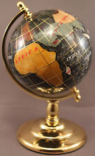 Multi-Gemstone 90mm Desktop Globe in Black Pearl - Gold Tone Base Free S&H