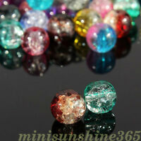 Lot Mixed Crystal Crack Glass Bead Round Loose Spacer Beads 4/6/8/10/12mm