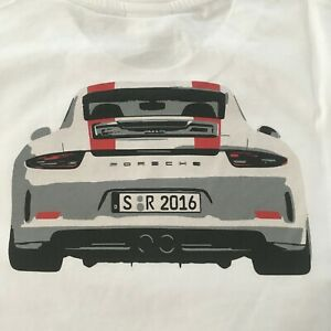 PORSCHE DESIGN MEN'S WHITE 2016 911R S/S TRIBUTE T~SHIRT EURO 4XL=USA 3XL NIBWT