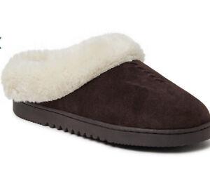 Genuine Suede Dearfoams house shoes brown clog NEW NIB Size 6 Women's