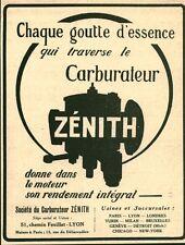 Publicité ancienne accessoire automobile Zénith carburateur issue magazine 1921