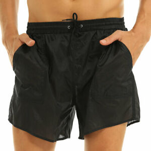 Men's Drawstring Swim Shorts Quick Dry Trunks Underwear See Through Boxer Briefs