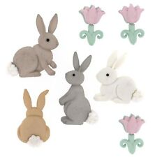 JESSE JAMES ~ DRESS IT UP BUTTONS ~ EASTER COTTON TAILS 7705 ~Bunny