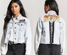 ACDC graphic acid wash denim jean crop jacket womens size SMALL ac/dc blazer top