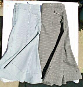 2 x M&S Per Una Summer Denim Skirts.  Blue & White Stripes/Polka Dots.  VGC.