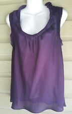 Plum Tank Top sz Lrg Willie Smith Poly Slveless SOLID Womens Clothing Blouse Lrg