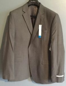 Perry Ellis Portfolio Mens Suit Blazer Gray Herringbone Size 44L Jacket Slim Fit