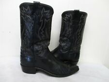 Justin Fort Worth White Label Black Leather Cowboy Boots Mens Size 10.5 D  2916