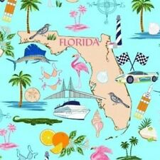 "21"" Remnant Windham Fabrics Florida Sunshine State Fabric 46509-X Blue"