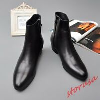 Mens Leather Cuban Heel Chelsea Ankle Boots Pointy Toe Business Dress Zip Shoes