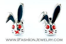 Black Silver Tone Red Bunny Rabbit Animal Cartoon Stud Earrings Jewelry