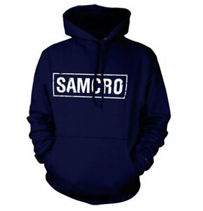 Official Sons of Anarchy - SAMCRO Distressed Hoodie Navy Colour