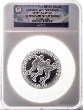 2014 USOC Olympic Winter Game - Speed Skating 5oz Silver Medal NGC GEM PROOF