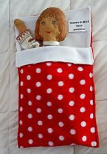 DOLL teddy SLEEPING BAG pram cot liner FLEECE up to 18in doll RED large