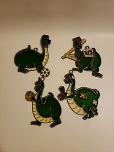 Dragon Green Sports Christmas Tree Decorations Hand Painted Set 4 Glass Holiday