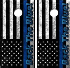 Back The Blue American Flag Cornhole Board Wraps Free Lamination #3236