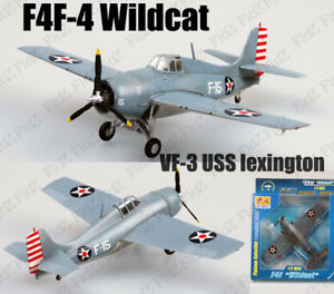 1/72 WWII F4F-4 Wildcat Aircraft Vf-3 Uss Lexington Plane Easy Finished Model