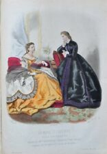 Lithograph with watercolor xix-Fashion illustrée-toilet and hair - 2