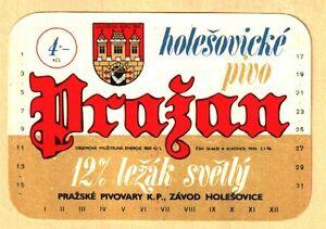 ETICHETTA - PRAJAN 12%  Světlý ležák Pražské pivovary KP ZAVOD HOLESOVICE  N.115