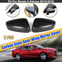 2x Carbon Fiber Style Door Wing Mirror Cover For Mazda 6 M6 Atenza GJ  2014-2018
