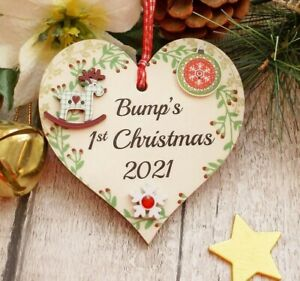 Bump's 1st Christmas 2021 Cutesy Tree Decoration  for a Mum to be 10cm x 10cm