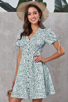 Sexy Green Valentina Short Sleeve Fit & Flare Summer Dress