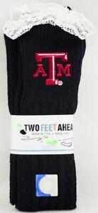 Texas A&M Aggies NCAA Socks Women's Gray Lace Ruffle Two Feet Ahead 4-9 Sock SZ
