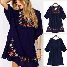 Navy Women Ethnic Mexican Embroidered Pessant Loose Hippie Boho Chic Mini Dress