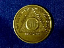Vinatge AA Alcoholics Anonymous 3 Year (III) Recovery Sobriety Coin Token