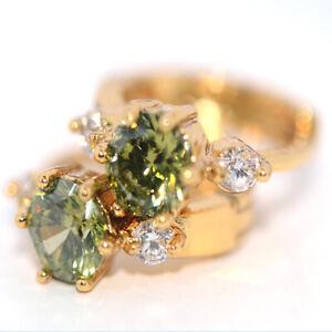 Small hoop huggie earrings Green stone earrings gold for womens girls cute