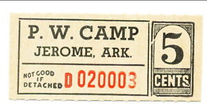 USA WWII POW Camp Chit AR-16-1-1 Jerome AR 5 Cents Prisoner of War Canteen